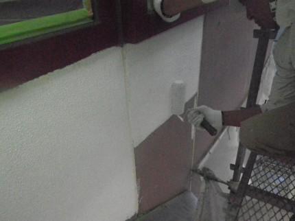 弾性塗膜塗料を塗り込み