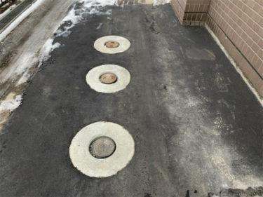 函館市元町の集合住宅の車路アスファルト舗装工事
