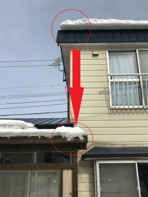 函館市富岡町で落雪により破損したサンルーム屋根の修繕