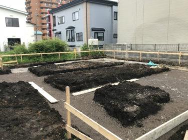函館市駒場町の新築住宅平屋建ての基礎工事