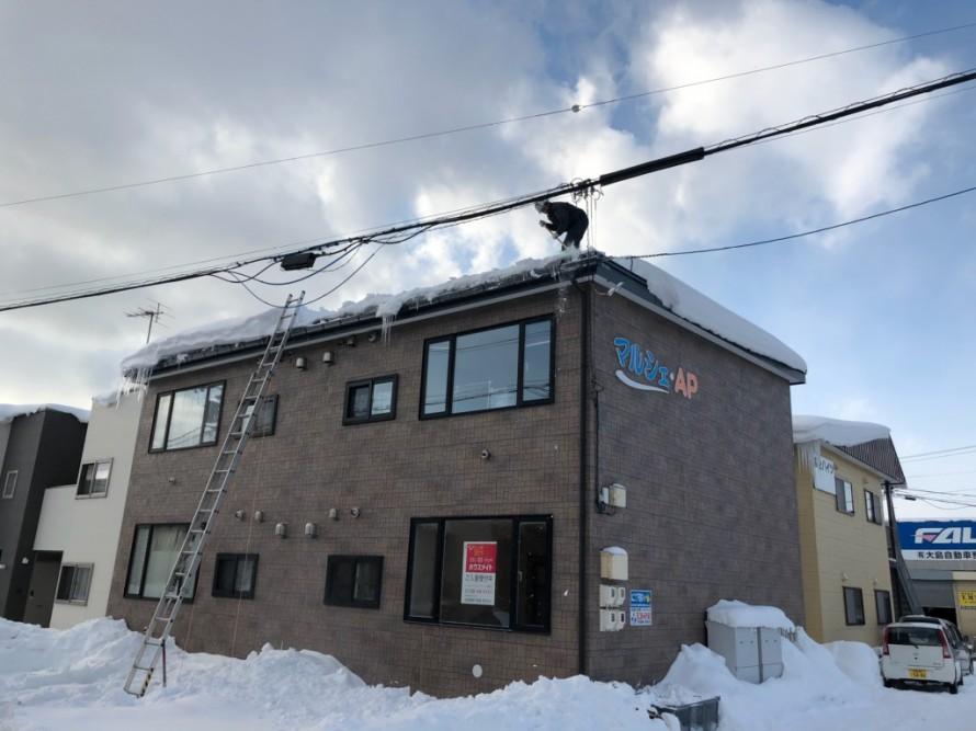 屋根の上での作業の様子