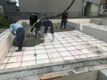 函館市駒場町の新築住宅平屋建ての基礎埋め戻し断熱土間工事