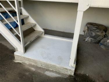 函館市深堀町の集合住宅鉄骨階段踏段修繕工事