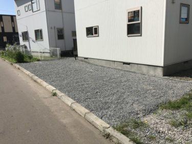 函館市昭和で外構と樹木伐採と敷地防草シート砂利敷き