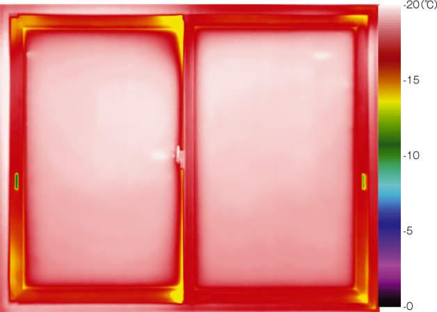 トリプルガラスサッシのサーモグラフィ
