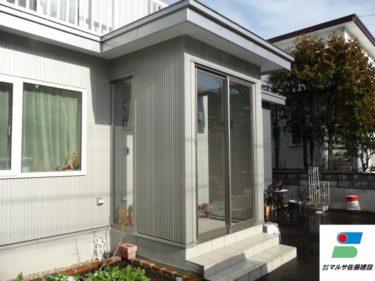 函館市日吉町で玄関フード取付