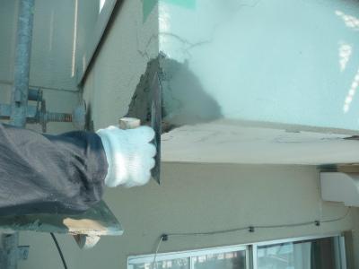 モルタルで外壁整形