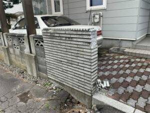 函館市深堀町住宅の門柱修繕リフォーム